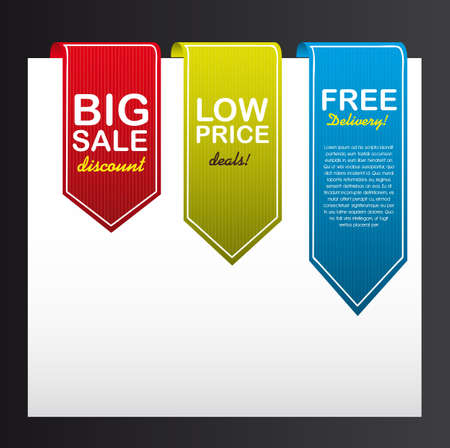 colorful tags over white paper isolated on a black background.  Vector