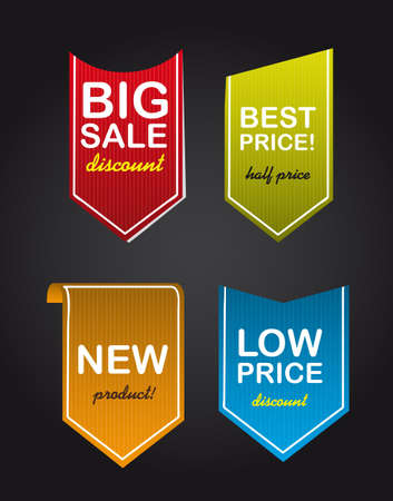 colorful four sale tags over black background. illustration Stock Vector - 12458937