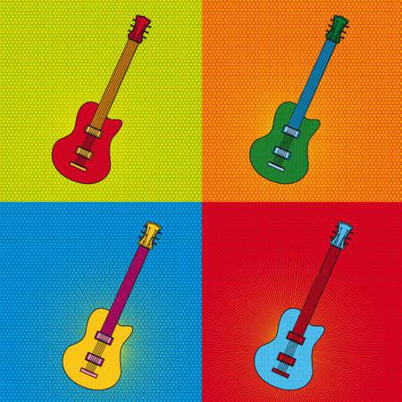 pop art guitar over colourful tiled background. illustration Illustration