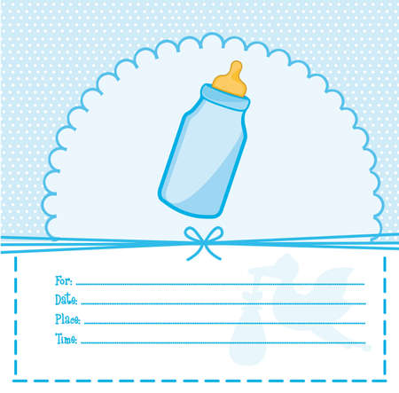 blue baby shower card with bottle baby illustration Vector