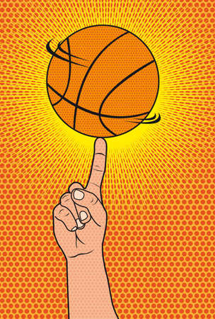 pop art hand with ball basketball background. illustration Illustration