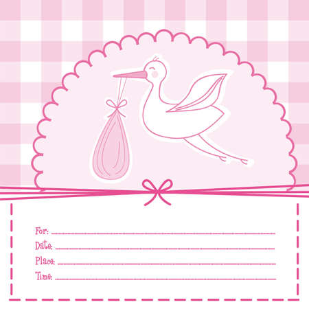 pink baby card with stork, baby shower. illustration Vector