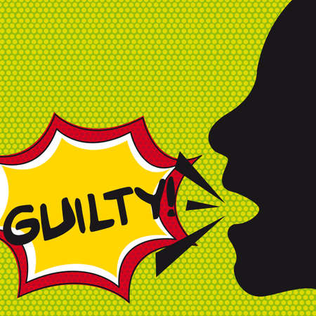 pop art guilty with thought bubble and silhouette face.  Vector