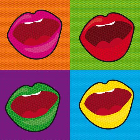 seduce: pop art mouth over colourful tiled background. illustration