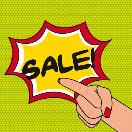 pop art sale with hands over green background. Vector
