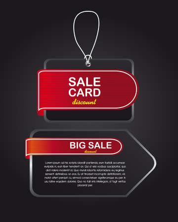 ean: black big sale tags over black background.