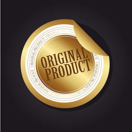 quality assurance: gold original product label over black background. illustration Illustration
