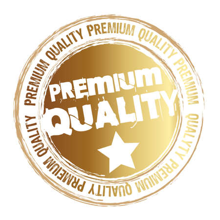 premium quality: gold stamp premium quality isolated over white background. vector