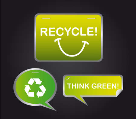 green recycle thought bubble over black background. Vector
