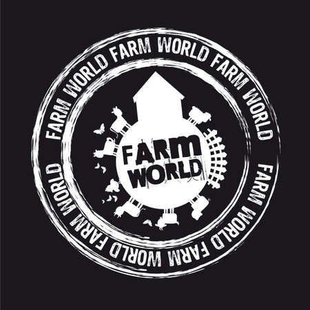 farm world stamp isolated over black background. Vector