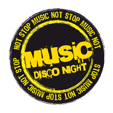 disco symbol: not stop music stamp isolated over white background.  illustration Illustration