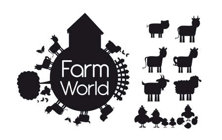 silhouettes animals farm isolated over white background. illustration Vector