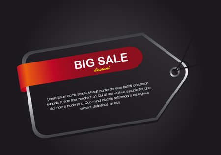 black tag over black background, big sale. illustration Vector