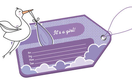 violet baby shower tag with stork over white background.  Vector