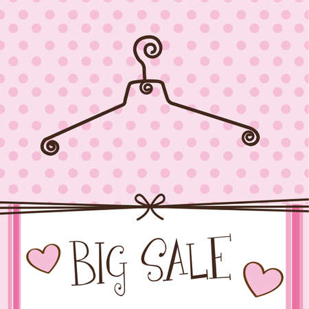 old fashion: cute hanger with big sale text over pink background.