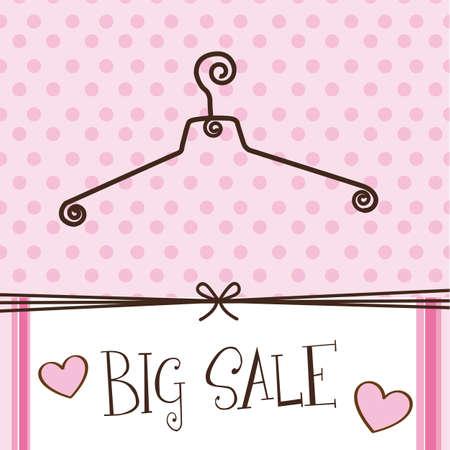 appendini: gancio carino con testo grande vendita su sfondo rosa. Vettoriali