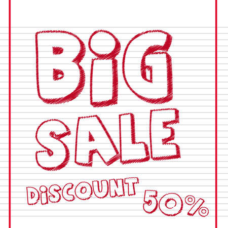 big sale drawing with discount over notebook background.  Vector