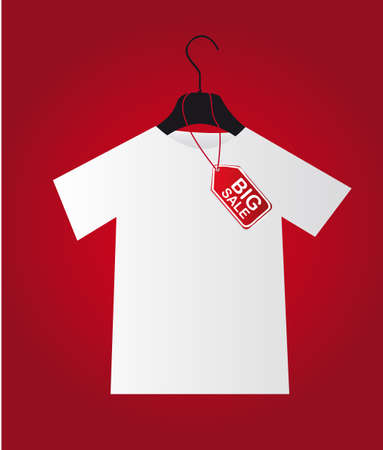shirt with big sale tag over red background.  Vector
