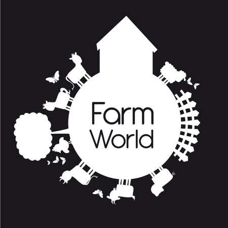 boerderij wereld met dieren die over zwarte achtergrond. Vector Illustratie