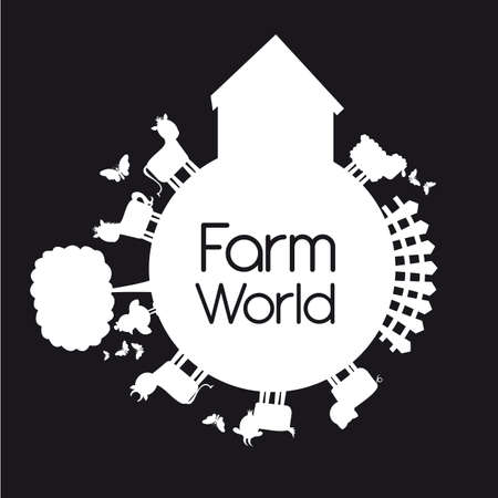pig tails: farm world with animals isolated over black background.  Illustration
