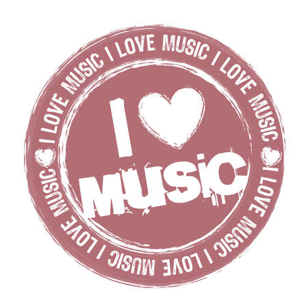 play music: pink i love music stamp isolated over white background.  Illustration
