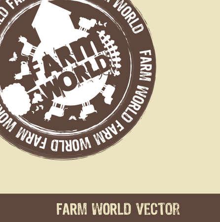 brown farm world stamp over beige background. Vector