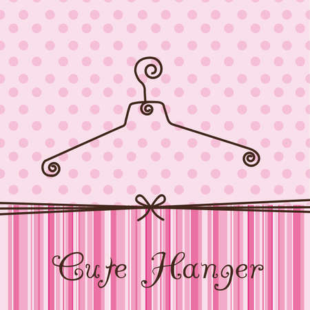 pink and black: cute hanger over pink background. illustration Illustration
