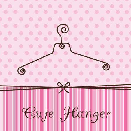 old fashion: cute hanger over pink background. illustration Illustration