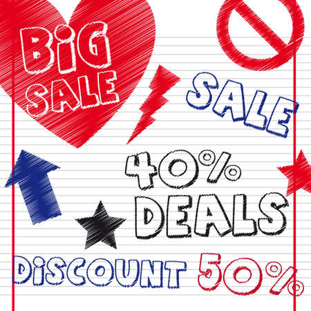 deals drawing with sign over notebook. illustration Vector