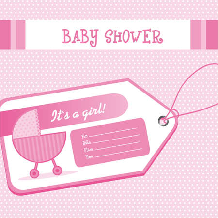 pink baby shower card with baby carriage over tag.  illustration Vector