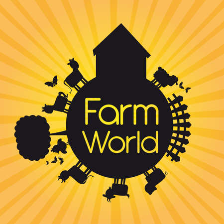 black silhouette farm world over yellow background. illustration Vector