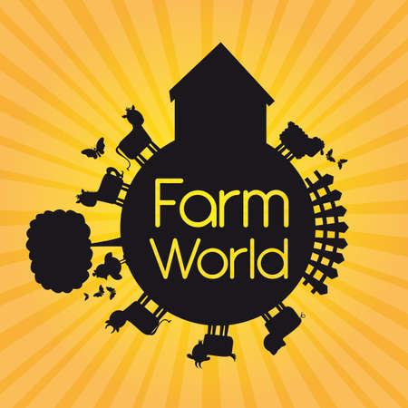 farm bird: black silhouette farm world over yellow background. illustration