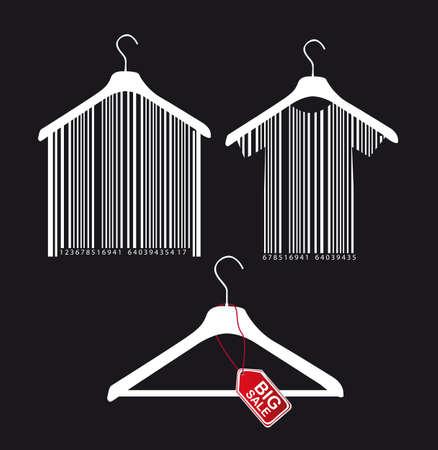 hanger met streepjescode en grote verkoop tabblad op zwarte achtergrond.