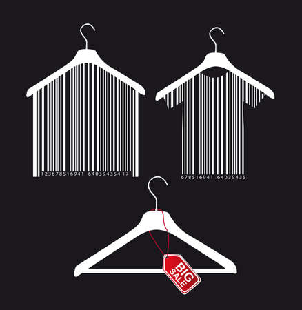 shirts on hangers: hanger with bar code and big sale tab over black background.