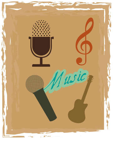 grunge musicals instruments over brown background.  Vector