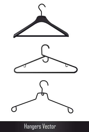 coathanger: black hangers isolated over white background. illustration Illustration