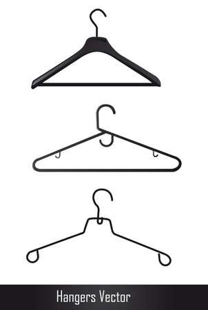 ropa colgada: ganchos negros aislados sobre fondo blanco. ilustraci�n