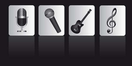 musical instruments over square over black background.  Vector