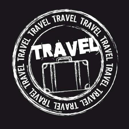 timbre voyage: tampon de voyage blanc isolé sur fond noir.