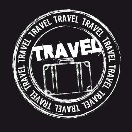 passport stamp: white travel stamp isolated over black background.
