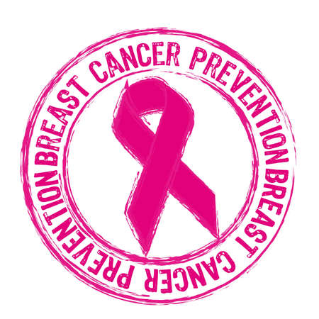 cancer ribbon: pink breast cancer prevention stamp isolated over white background.