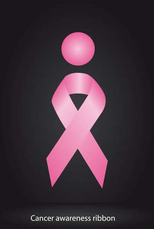 nude breasts: pink awareness ribbon over black background. illustration