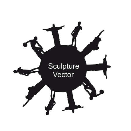 black silhouette sculpture isolated over white background.  Vector
