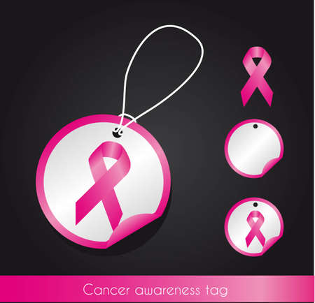 beautiful breasts: awareness ribbon tags over black background.