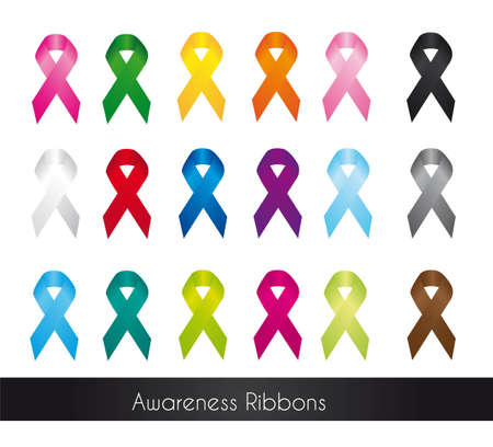 colorful awareness ribbons isolated over white background.  Illustration