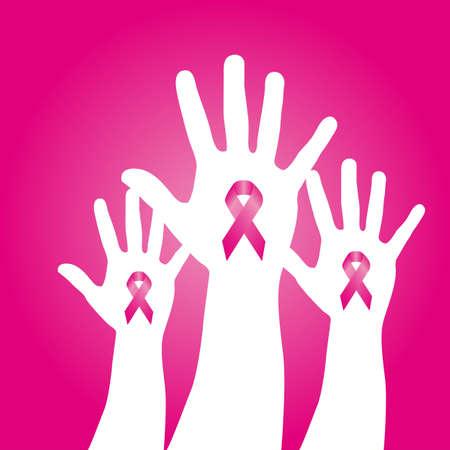 cancer symbol: cintas de color rosa de concientizaci�n sobre las manos sobre fondo de color rosa.