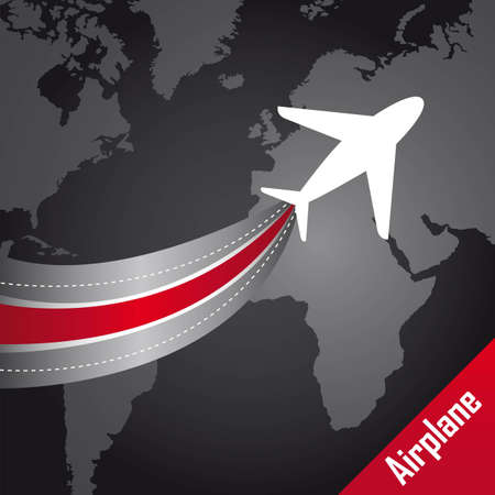 divert: airplane over map over black background. illustration