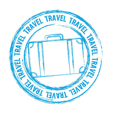 grunge stamp: blue travel stamp isolated over white background. Illustration