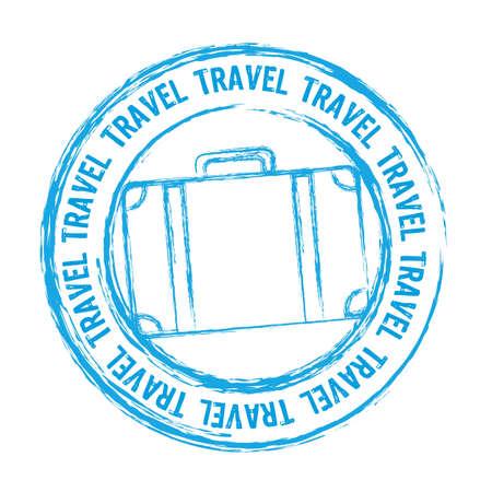 timbre voyage: Voyage timbre bleu isolé sur fond blanc.