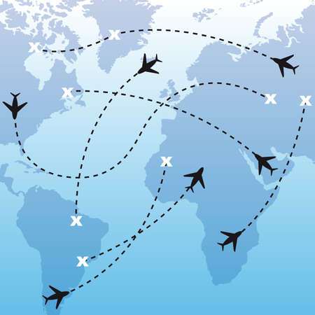 divert: silhouette airplanes over map over blue background.  Illustration